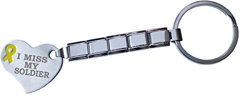 I Miss My Soldier 9mm Italian Charm Key Chain Stainless Steel Link Yellow (9mm Italian Charm Keychain)