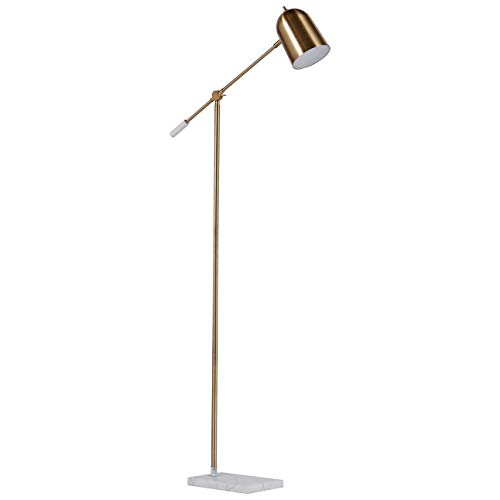 Rivet Avery Marble and Brass  Floor Lamp, 63