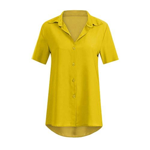 KI-8jcuD Women's Solid Color Short Sleeve Chiffon TopT-Shirt Office Ladies Plain Blouse Yellow ()