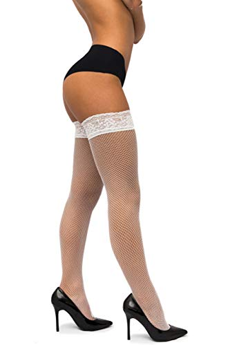 (sofsy Fishnet Thigh-High Stockings - Lace Top Lingerie [Made In Italy] - White - XS/S)