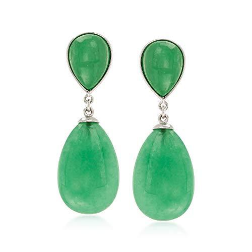 Ross-Simons Pear-Shaped Green Jade Drop Earrings in Sterling Silver