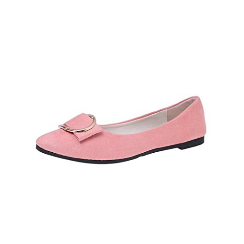 Sikye Ladies Office Shoes,Women Slip On Suede Belt Buckle Flat Heel Pointed Toe Casual Shoes Pink