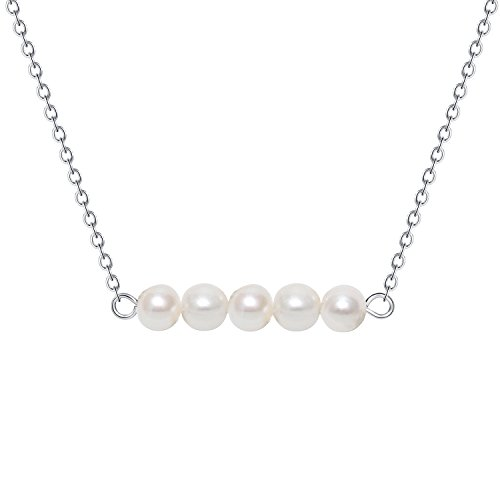 - Minimalist Birthstone Five Pearl Necklace - Silver Filled Simple Genuine 6.0 mm Ivory Potato Pearl Wedding Choker Necklace Tiny Stainless Steel Hypoallergenic Water Adjustable Pearl Necklace for Bride