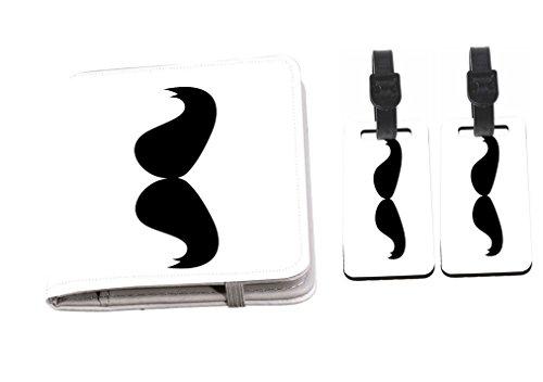 Rikki Knight Hercule Poirot Mustache Design Passport Holder + 2 Matching Luggage Tags -