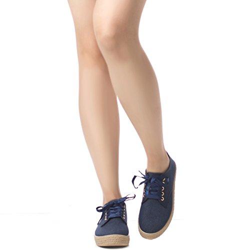 Soho Shoes Women's Espadrille Platform Canvas Lace Up Denim (Shoe Blue Denim)
