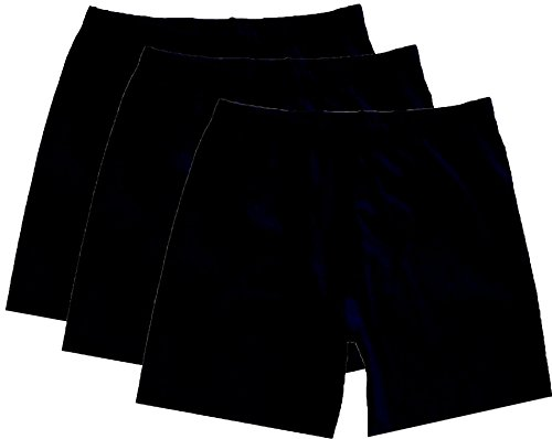 Stretch is Comfort Women's Cotton Biker Shorts Set Of 3 Pieces Black Large (Three Cotton Piece Shorts)