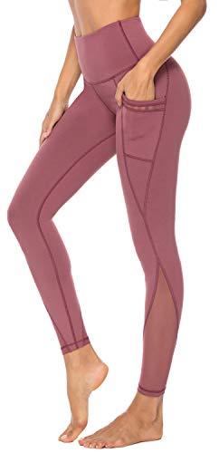 (Persit Yoga Pants for Women with Pockets High Waisted Capri Mesh Workout Leggings Athletic Gym Fabletics Soft Yoga Leggings - Pink Cinnamon -)