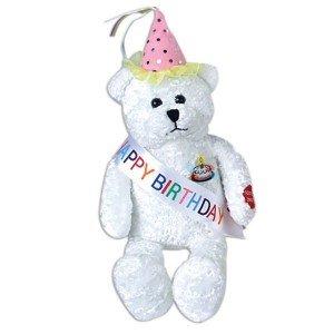 "11"" Singing HAPPY BIRTHDAY Plush Bear with Sash and PARTY HAT - Gift Keepsake STUFFED Animal"