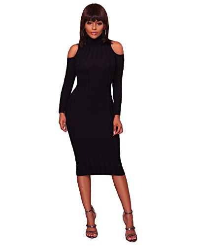 Felicity Young Women' s Turtle Neck Long Sleeve Cold Shoulder Slim Fit Knit Sweater Dress Bodycon Pencil Party Midi Dress Black, Medium