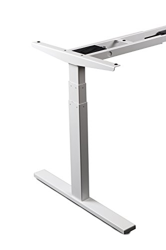 Lihidesk LJ201-S3 Electric Height Adjustable Standing Desk Frame Only Sit Stand – up Ergonomic Motorized Desk Base with LCD Digital Memory Keyboad, 3 Segments Dual Motors, Off White