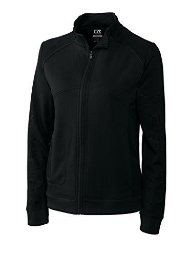 Cutter & Buck Mesh Pullover - Cutter & Buck LCK08514 Womens Cb Drytec Edge Full Zip, Solid Black-XXL
