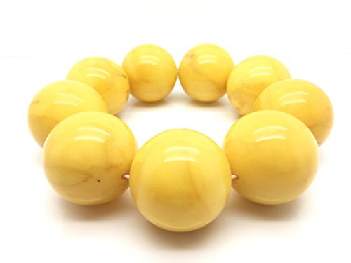 Natural Baltic Amber Bracelet Old Yellow Colour 107,2g 28± mm size. by Mister Amber