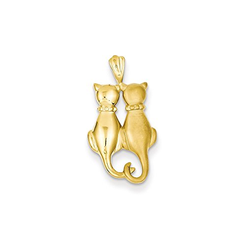 14k Gold Satin & Polished Cats Pendant (0.94 in x 0.47 in)