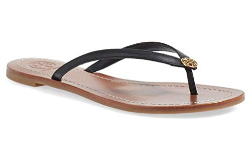 Tory Burch Terra Thong Flip Flops Leather Thong Sandals (8, Perfect Black) from Tory Burch