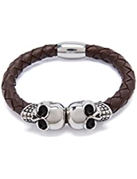 Buddha Braided Leather Bangle Bracelet With Two Stainless Steel Skulls And Magnetic Clasp For Men And Women