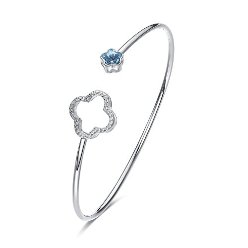 CDE Bracelets for Women Sterling Silver Swarovski Crystal Open Cuff Bangle Bracelet Smooth Hollow Hoop Gifts for Girls by CDE
