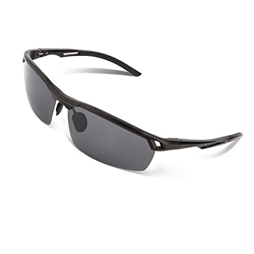 RIVBOS® Polarized Sports Sunglasses Driving Glasses Metal Frame with Mirror Lens Pouch Cloth Case for Golf...