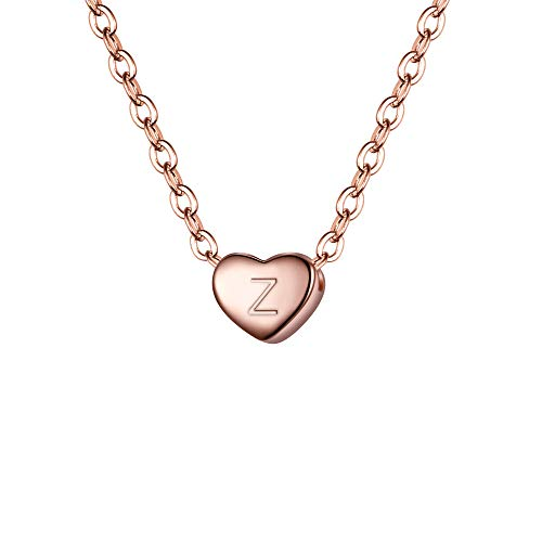 BriLove 925 Sterling Silver Tiny Initial Heart Necklace for Women Pendant Choker Necklace for Girls Letter Z 14K Rose-Gold-Toned ()