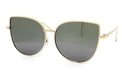 O2 Eyewear 7040 Premium Oversized XL Retro Cats eye Mirror Funky Fashion Revo Candy Flat Metal Aviator Sunglasses (Light, - Cat Aviators Eye