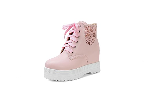 Lace Imitated Boots Muffin BalaMasa Leather Leopard Hollow Buttom Pink Ladies American Out Pattern Zn1zAw51qP
