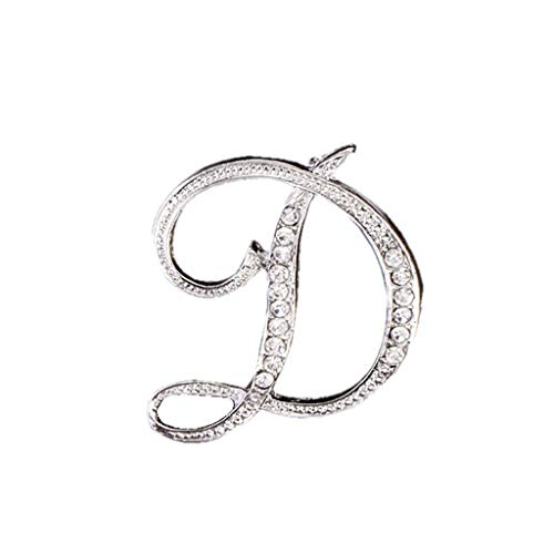 Usstore  English Letters Diamond Brooch Pin Crystal Couple Memorial Jewelry Love Gifts Birthday Present Clothes Decor (D, one Size)