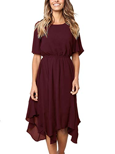 MISSLOOK Women's Short Sleeve Midi Dress Empire Waist Summer Chiffon Dress Round Neck Asymmetrical Irregular Hem Dress - Burgundy S