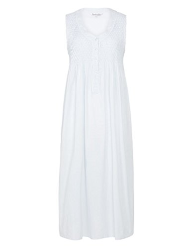 Slenderella ND7250 Women's White Woven Cotton Night Gown Loungewear Nightdress