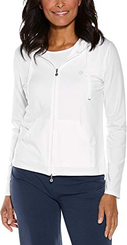 (Coolibar UPF 50+ Women's Seaside Hoodie - Sun Protective (Medium- White))