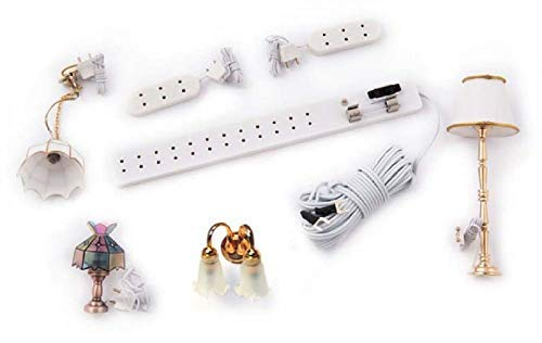 Melody Jane Dollhouse Electric Light Starter Kit 4 Lights Socket Strip Extension Leads 12V