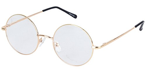 Bestum Retro Round Optical Spring Hinge Metal Glasses Frame Clear lens (Gold 46mm (medium size))