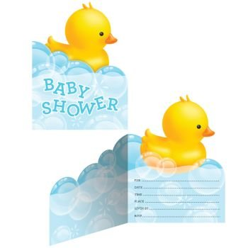 Creative Converting 897058 Rubber Ducky Baby Shower Invitations, Any, Multicolor