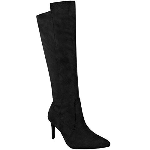 Mode Soif Femmes Mi-talon Stiletto Bottes De Veau Bout Pointu Chaussures De Soirée Taille Noir Faux Daim