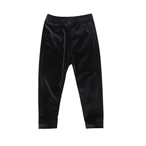 BiggerStore Kids Toddler Infant Baby Girl Velvet Warm Long Pants Leggings Solid Color Trousers (Black, 1-2 (Black Velvet Trousers)