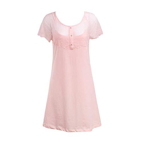 Encaje Marca Pijama Camisón B De Corta Hermoso Ropa Home Vestido Dormir Redondo Service Señora Falda Manga Suelta Cómodo Mode Cuello 41q8RE