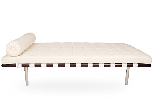 Modern Daybed / Mies Couch, Top Grain Premium Leather with Dark Walnut Frame (White Aniline Leather)