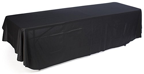 Displays2go Table Throw Covers 3 Sides of a 8-Feet Long Rectangular Table, Machine Washable, Certified Flame Retardant, Black