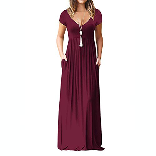 Semi Formal Themes (WEISUN Women Casual Dress Sleeve V-Neck Solid Color Dress Summer Maxi Tank Long Dress)
