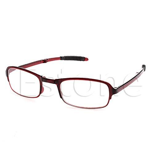 Unisex Folding Reading Glasses Eyeglass With Case +1.0 +1.5 +2.0 +2.5 +3.0 +3.5 +4.0 Women Men Eyewear Red +300