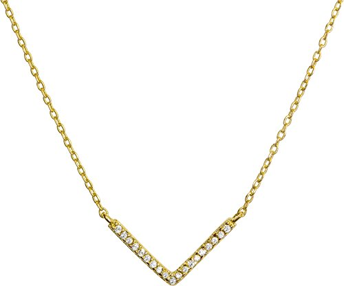 (Benevolence LA Gold Necklace Chevron Drop Y Vertical Bar: 14k Gold Diamond Shaped Open Circle Cubic Zirconia Looped Long Chain Necklaces for Women Designed by Candace Cameron Bure (Chevron))