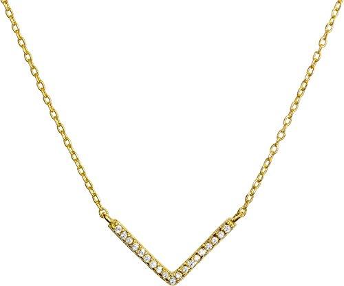Benevolence LA Chevron Necklace: Diamond Shape Cubic Zirconia Stones 14k Gold Dipped (Chevron) - 14k Gold Chevron