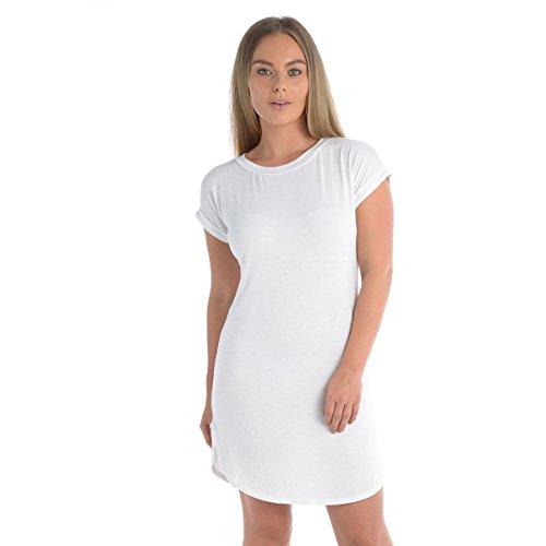 Delle Donne Sovradimensionato Vestito Bianco Orlo Lato Alzare Delle Larghi Manica Tagliato Pianura Arrotondato Mini Il Signore ATUUwq