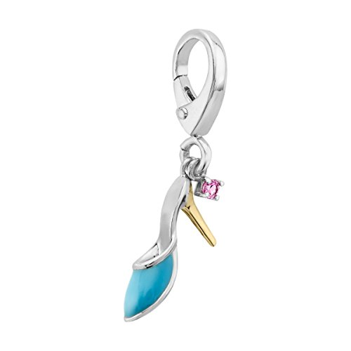 Stiletto Charm with Created Pink Sapphire in Sterling Silver and 14K Gold