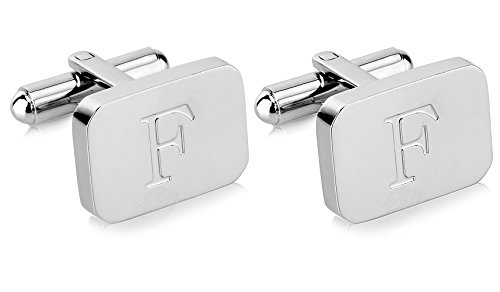 (White-Gold Plated Monogram Initial Engraved Stainless Steel Man's Cufflinks With Gift Box -Personalized Alphabet Letter's By Lux & Pier (F- White Gold))
