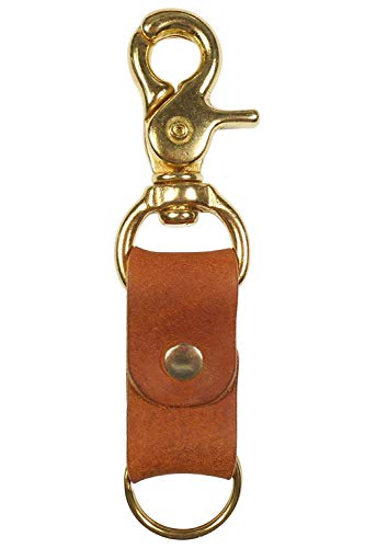 Trigger Swivel Keychain :: Saddle Brown Cowhide Leather :: Solid Brass Hardware :: Western Style :: Handmade in Austin, Texas :: Great Practical Gift by Hatton Henry (Leather Ring Auto Key)