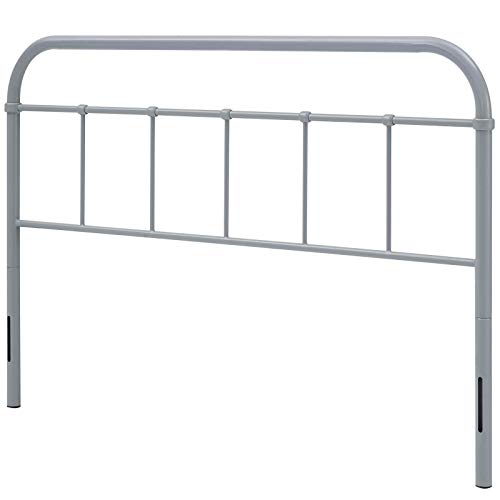 Modern Contemporary Urban Design Bedroom Queen Size Headboard, Metal Steel, Grey Gray
