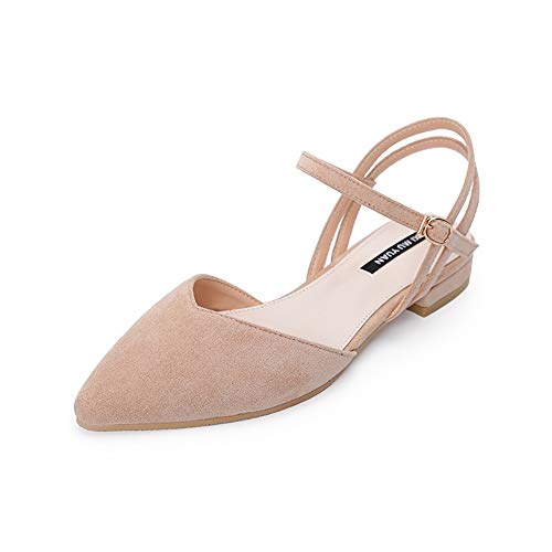 Wollanlily Women's Pointy Toe Flats D'Orsay Buckle Ankle Strap Casual Comfort Ballerina Ballet Flat Shoes Nude US 9.5 by Wollanlily