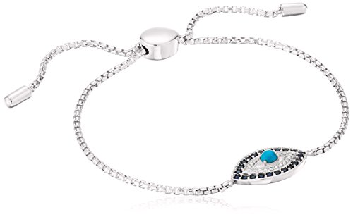 Sterling Silver Genuine Stabilized  Turquoise with Created Blue and White Sapphire Evil Eye Bolo Adjustable Bracelet, 9