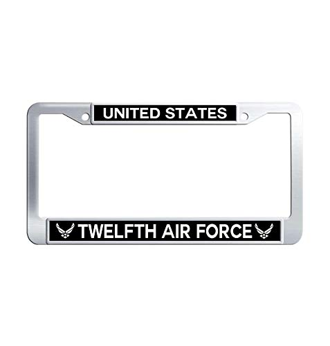Toanovelty United States Twelfth Air Force Metal Car Licence Plate Covers, Waterproof Stainless Steel Car Tag Frame 6' x 12' in -