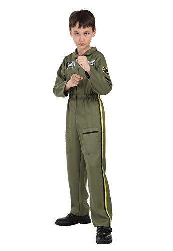 Grebrafan Kids Flight Suit Pilot Costume for Boys Toddler Children Jumpsuit Coveralls Role Play Cosplay (XX-Large, Green)