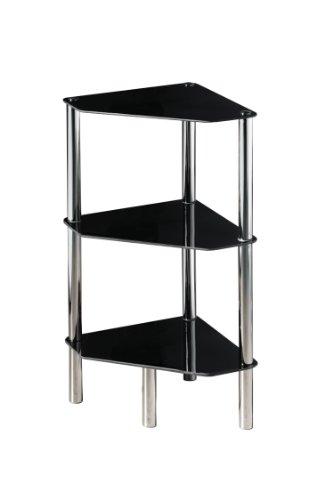 Premier Housewares 3 Tier Half Round Shelf Unit with Black Glass Shelves and Chrome Frame by Premier Housewares